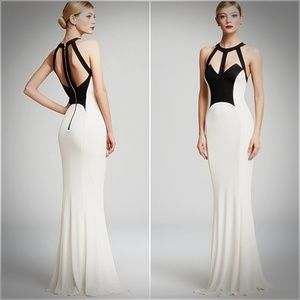 ABS Allen Schwartz Black Ivory Caged Two-Tone Gown